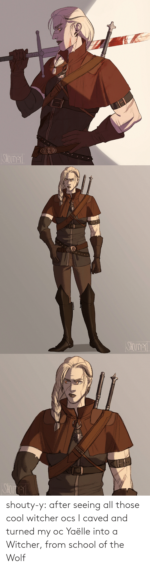 Wolf: shouty-y:    after seeing all those cool witcher ocsI caved and  turned my oc Yaëlle into a Witcher, from school of the Wolf