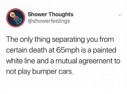 Shower thoughts: Shower Thoughts  @showerfeelings  The only thing separating you from  certain death at 65mph is a painted  white line and a mutual agreement to  not play bumper cars.