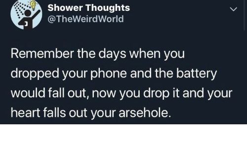 drop it: Shower Thoughts  @TheWeirdWorld  Remember the days when you  dropped your phone and the battery  would fall out, now you drop it and your  heart falls out your arsehole.