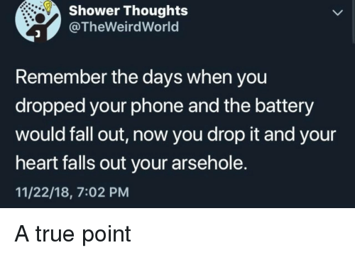 drop it: Shower Thoughts  @TheWeirdWorld  Remember the days when you  dropped your phone and the battery  would fall out, now you drop it and your  heart alls out your arsehole.  11/22/18, 7:02 PM A true point