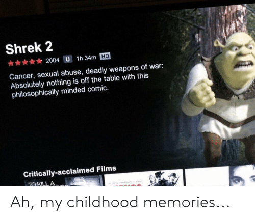 Philosophically: Shrek 2  2004 U  1h 34m HD  Cancer, sexual abuse, deadly weapons of war:  Absolutely nothing is off the table with this  philosophically minded comic.  Critically-acclaimed Films  TO KILLA Ah, my childhood memories...