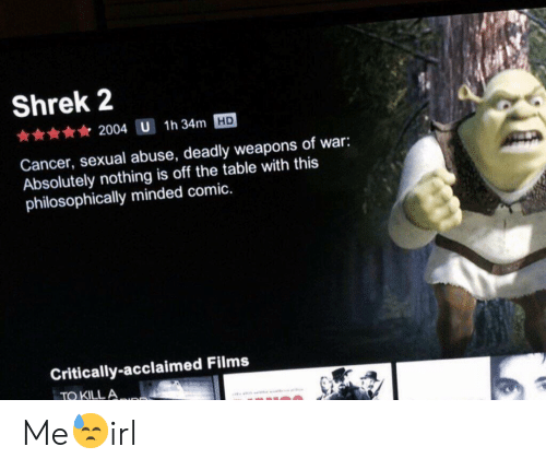 Philosophically: Shrek 2  2004 U 1h 34m HD  Cancer, sexual abuse, deadly weapons of war:  Absolutely nothing is off the table with this  philosophically minded comic.  Critically-acclaimed Films  TO KILLA Me😓irl