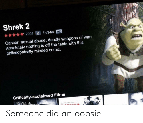 Philosophically: Shrek 2  2004 U 1h 34m HD  Cancer, sexual abuse, deadly weapons of war:  Absolutely nothing is off the table with this  philosophically minded comic.  Critically-acclaimed Films  TQ KILLA Someone did an oopsie!