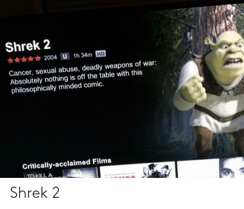 Philosophically: Shrek 2  2004 U 1h 34m HD  Cancer, sexual abuse, deadly weapons of war:  Absolutely nothing is off the table with this  philosophically minded comic.  Critically-acclaimed Films  TO KILL A Shrek 2