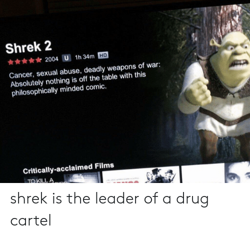 Philosophically: Shrek 2  2004 U 1h 34m HD  Cancer, sexual abuse, deadly weapons of war:  Absolutely nothing is off the table with this  philosophically minded comic.  Critically-acclaimed Films  TO KILL A shrek is the leader of a drug cartel