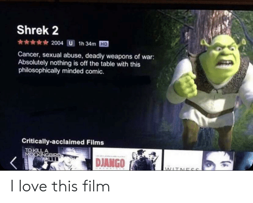 Philosophically: Shrek 2  2004 U 1h 34m HD  Cancer, sexual abuse, deadly weapons of war:  Absolutely nothing is off the table with this  philosophically minded comic.  Critically-acclaimed Films  TO KILL I love this film