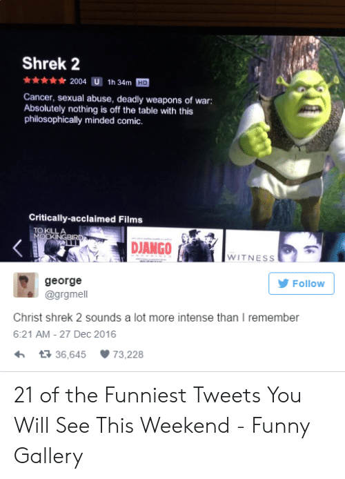 Philosophically: Shrek 2  2004 U 1h 34m HD  Cancer, sexual abuse, deadly weapons of war:  Absolutely nothing is off the table with this  philosophically minded comic.  Critically-acclaimed Films  DJANGO  WITNESs  george  @grgmell  Follow  Christ shrek 2 sounds a lot more intense than I remember  6:21 AM- 27 Dec 2016  13 36,645  73,228 21 of the Funniest Tweets You Will See This Weekend - Funny Gallery