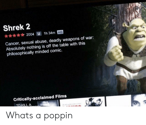 Philosophically: Shrek 2  2004 U 1h 34m HD  Cancer, sexual abuse, deadly weapons of war:  Absolutely nothing is off the table with this  philosophically minded comic.  Critically-acclaimed Films  TO KILLA Whats a poppin