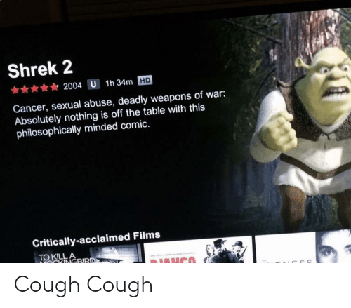 Philosophically: Shrek 2  2004 U  1h 34m HD  Cancer, sexual abuse, deadly weapons of war:  Absolutely nothing is off the table with this  philosophically minded comic.  Critically-acclaimed Films  TO KILL Cough Cough