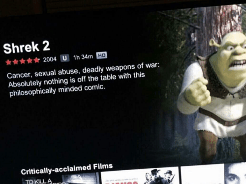 Philosophically: Shrek 2  2004 U 1h 34m HD  Cancer, sexual abuse, deadly weapons of war:  Absolutely nothing is off the table with this  philosophically minded comic.  Critically-acclaimed Films  TO KILLA