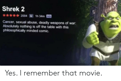 Philosophically: Shrek 2  HD  Cancer, sexual abuse, deadly weapons of war:  Absolutely nothing is off the table with this  philosophically minded comic. Yes. I remember that movie.