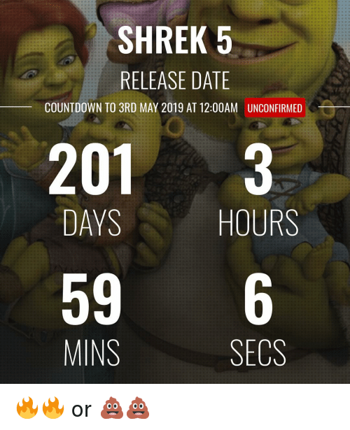 Countdown, Memes, and Shrek: SHREK 5  RELEASE DATE  COUNTDOWN TO 3RD MAY 2019 AT 12:00AM  UNCONFIRMED  201 3  DAYS  HOURS  596  MINS  SECS 🔥🔥 or 💩💩
