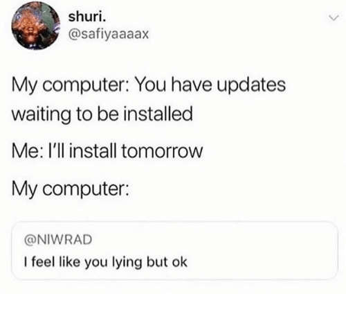 Computer, Tomorrow, and Humans of Tumblr: shuri  @safiyaaaax  My computer: You have updates  waiting to be installed  Me: I'l install tomorrow  My computer:  @NIWRAD  I feel like you lying but ok