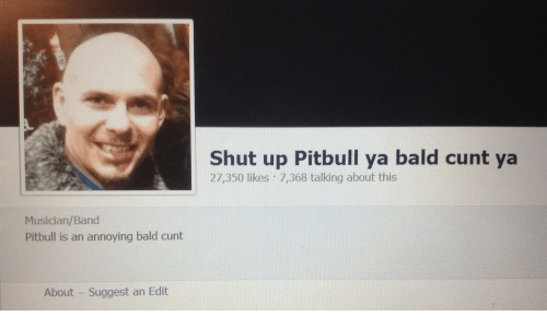 Shut Up, Pitbull, and Cunt: Shut up Pitbull ya bald cunt ya  27,350 likes 7,368 talking about this  Musician/Band  Pitbull is an annoying bald cunt  About Suggest an Edit