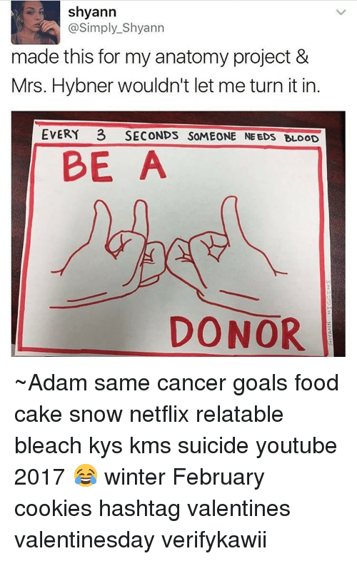 Cookiness: Shyann  @Simply Shyann  made this for my anatomy project &  Mrs. Hybner wouldn't let me turn itin  EVERY 3 SECONDS SOMEONE NEEDS BLOOD  BE  A  DONOR ~Adam same cancer goals food cake snow netflix relatable bleach kys kms suicide youtube 2017 😂 winter February cookies hashtag valentines valentinesday verifykawii