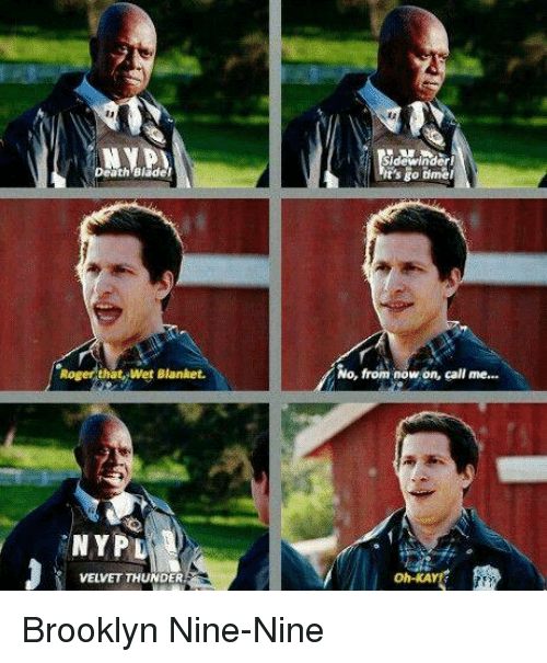Memes, Roger, and Brooklyn: Sidewinderi  t's go tme  Death Blader  No, from now on, call me...  Roger that, Wet Blanket.  'NYPD  oh-KAY  VELVET THUNDER Brooklyn Nine-Nine