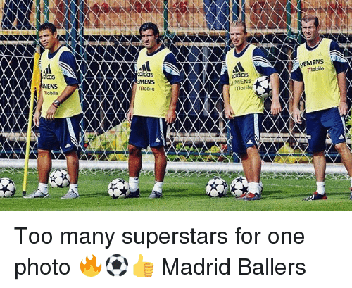 Memes, Mobile, and Ballers: SIEMENS  mobile  didas  MENS  mobile  cidas  MENS  Mobil  ikas  MENS  mobile Too many superstars for one photo 🔥⚽️👍 Madrid Ballers
