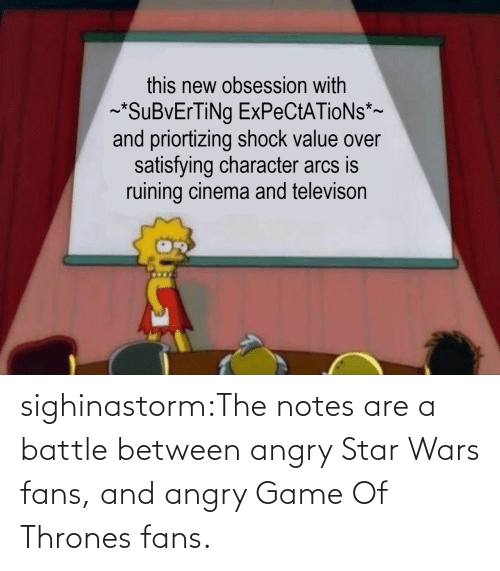 notes: sighinastorm:The notes are a battle between angry Star Wars fans, and angry Game Of Thrones fans.