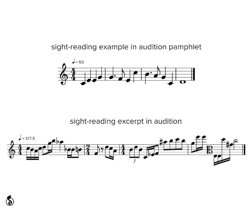 example: sight-reading example in audition pamphlet  J-60  %3!  sight-reading excerpt in audition  = 127.5  3