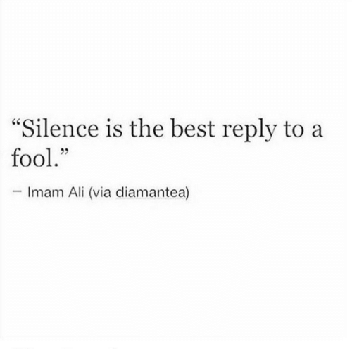 """Ali, Best, and Silence: """"Silence is the best reply to a  fool.""""  -Imam Ali (via diamantea)"""