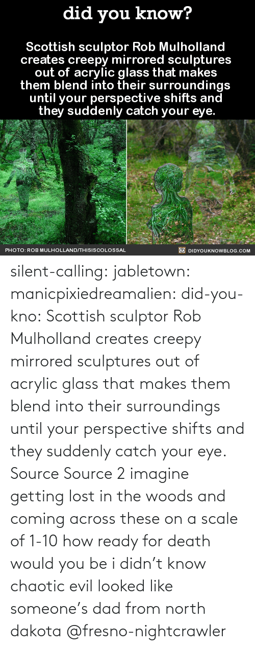 eye: silent-calling: jabletown:  manicpixiedreamalien:  did-you-kno:  Scottish sculptor Rob Mulholland  creates creepy mirrored sculptures  out of acrylic glass that makes  them blend into their surroundings  until your perspective shifts and  they suddenly catch your eye.  Source Source 2  imagine getting lost in the woods and coming across these on a scale of 1-10 how ready for death would you be  i didn't know chaotic evil looked like someone's dad from north dakota    @fresno-nightcrawler