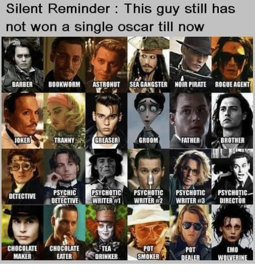 Wonned: Silent Reminder: This guy still has  not won a single oscar till now  BARBERBOOKWORM ASTRONUT SEAGANGSTER NOIR PIRATE ROGUE AGENT  JOKER  TRANNYGR  EASER GROOM  FATHERB  BROTHER  SYCHOTIC!  E-WRITER#1 ,  PSYCHOTIC  WRITER #2  PSYCHOTIC  WRITER #3  PSYCHOTIC  DIRECTOR  /  DETECTIVE  -  CHOCOLATE , CHOCOLATE ,TEA  POT  SMOKER  POT  EMO  MAKER  EATERDRINKER