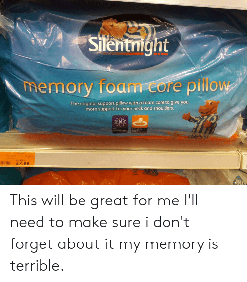 Memory, Core, and Will: Silentnight  BEDS  memory foam core pillow  OW  The original support pillow with a foam core to give you  more support for your neck and shoulders.  NON  ALLERGENIC  MEMORY  FOAM  CORE  Sientnight Memory foam Core Piow  Was E12.00  £7.99 This will be great for me I'll need to make sure i don't forget about it my memory is terrible.