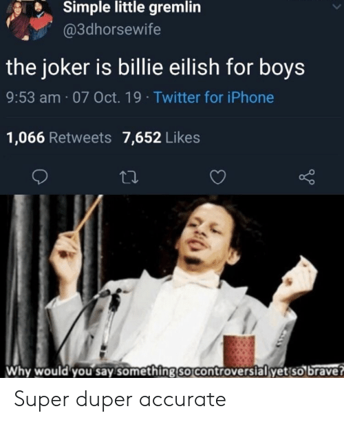 Iphone, Joker, and Reddit: Simple little gremlin  @3dhorsewife  the joker is billie eilish for boys  9:53 am 07 Oct. 19 Twitter for iPhone  1,066 Retweets 7,652 Likes  Why would you say something so controvers ialyet so brave? Super duper accurate