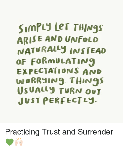 Memes, 🤖, and Trust: SimPuy Ler THINgs  ARISE AND UNFoLD  NATURALY INS TEAD  oF FoRmULATIN9  EXPECTATIONS AND  WORRyIN9 THiN95  USUALLY TURN OUT  JUST PERFECTLj. Practicing Trust and Surrender 💚🙌🏻