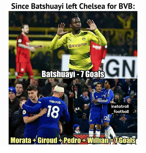 Chelsea, Football, and Memes: Since Batshuayi left Chelsea for BVB:  GN  Batshuayi-7Goals  GIROUD  instatroll  football  18  Morata+Giroud+Pedro+Willian TGoals