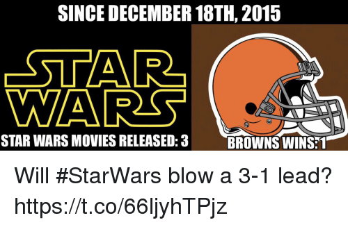 Football, Movies, and Nfl: SINCE DECEMBER 18TH, 2015  STAR  WA  STAR WARS MOVIES RELEASED:3  BROWNS WINS:1 Will #StarWars blow a 3-1 lead? https://t.co/66ljyhTPjz