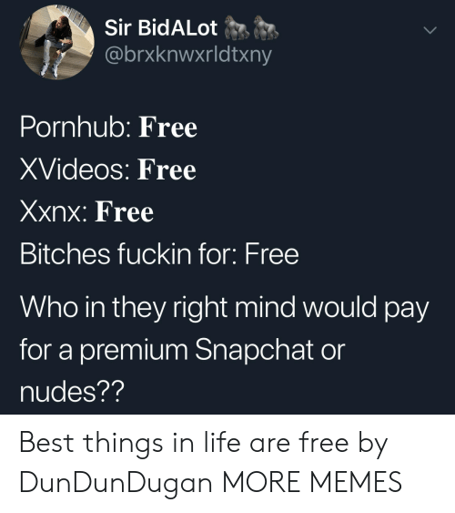 Dank, Life, and Memes: Sir BidALot  @brxknwxrldtxny  Pornhub: Free  XVideos: Free  Xxnx: Free  Bitches fuckin for: Free  Who in they right mind would pay  for a premium Snapchat on  nudes?? Best things in life are free by DunDunDugan MORE MEMES