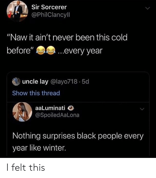 "Winter, Black, and Cold: Sir Sorcerer  @PhilClancyll  ""Naw it ain't never been this cold  ...every year  before""  uncle lay @layo718 5d  Show this thread  aaLuminati  @SpoiledAaLona  Nothing surprises black people every  year like winter I felt this"