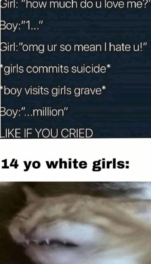 "Girls, Love, and Omg: Sirl: ""how much do u love me  Boy:""1...""  irl:""omg ur so mean I hate u!""  girls commits suicide  boy visits girls grave*  Boy:""..million""  LIKE IF YOU CRIED  14 yo white girls:"