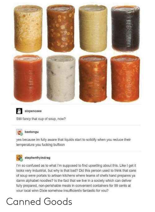 Sixpenceee: sixpenceee  Still fancy that cup of soup, now?  keetongu  yes because im fully aware that liquids start to solidify when you reduce their  temperature you fucking buffoon  stephenfryindrag  I'm so confused as to what I'm supposed to find upsetting about this. Like I get it  looks very industrial, but why is that bad? Did this person used to think that cans  of soup were portals to artisan kitchens where teams of chefs hand prepares ya  damn alphabet noodles? Is the fact that we live in a society which can deliver  fully prepared, non-perishable meals in convenient containers for 99 cents at  your local winn Dixie somehow insufficiently fantastic for you? Canned Goods