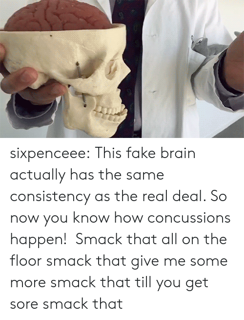 Fake, Some More, and Tumblr: sixpenceee:  This fake brain actually has the same consistency as the real deal. So now you know how concussions happen!   Smack that all on the floor smack that give me some more smack that till you get sore smack that