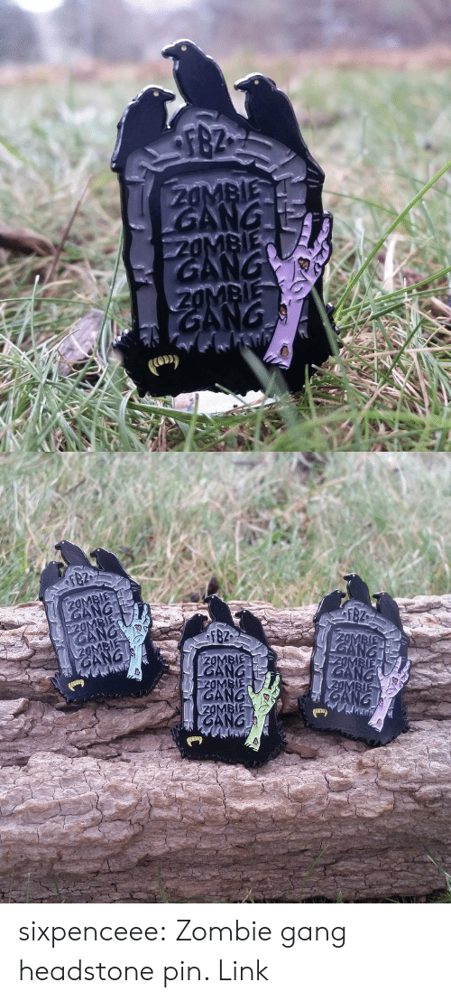 Click, Tumblr, and Gang: sixpenceee:  Zombie gang headstone pin. Link