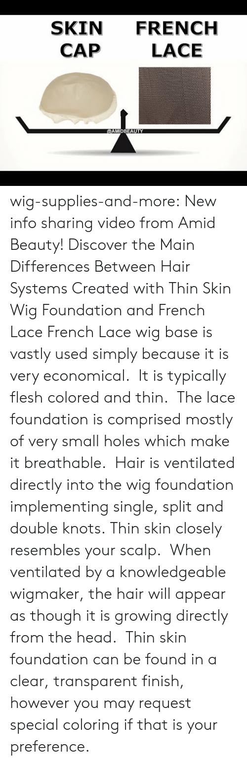 Head, Tumblr, and Holes: SKIN FRENCH  CAP  LACE wig-supplies-and-more: New info sharing video from Amid Beauty! Discover the Main Differences Between Hair Systems Created with Thin Skin Wig Foundation and French Lace French Lace wig baseis vastly used simply because it is very economical. It is typically flesh colored and thin. The lace foundation is comprised mostly of very small holes which make it breathable. Hair is ventilated directly into the wig foundation implementing single, split and double knots.  Thin skin closely resembles your scalp. When ventilated by a knowledgeable wigmaker, the hair will appear as though it is growing directly from the head. Thin skin foundation can be found in a clear, transparent finish, however you may request special coloring if that is your preference.