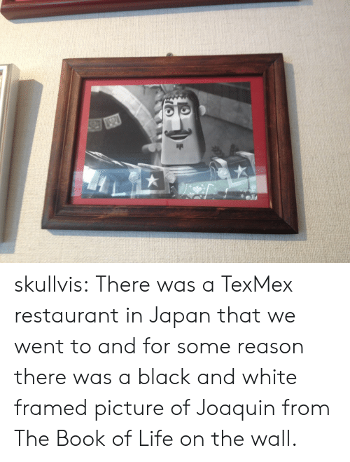 Life, Tumblr, and Black: skullvis: There was a TexMex restaurant in Japan that we went to and for some reason there was a black and white framed picture of Joaquin from The Book of Life on the wall.