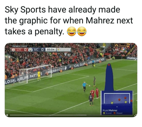 Sky Sports: Sky Sports have already made  the araphic for when Mahrez next  takes a penalty.  PREMIER LEAGUE  85:04 Micoso  mala  LOIBAL AIRLINE PART  19  Riyad Mahrez  Scored Missed