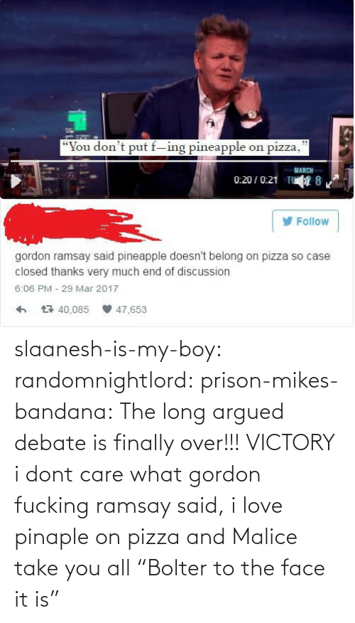 "Prison: slaanesh-is-my-boy:  randomnightlord: prison-mikes-bandana:  The long argued debate is finally over!!!   VICTORY  i dont care what gordon fucking ramsay said, i love pinaple on pizza and Malice take you all   ""Bolter to the face it is"""
