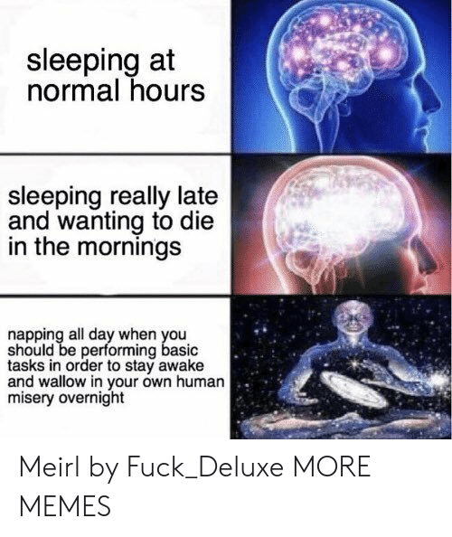 Dank, Memes, and Target: sleeping at  normal hours  sleeping really late  and wanting to die  in the mornings  napping all day when you  should be performing basic  tasks in order to stay awake  and wallow in your own human  misery overnight Meirl by Fuck_Deluxe MORE MEMES