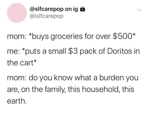 Buys: @slfcarepop on ig  @islfcarepop  mom: *buys groceries for over $500*  me: *puts a small $3 pack of Doritos in  the cart*  mom: do you know what a burden you  are, on the family, this household, this  earth