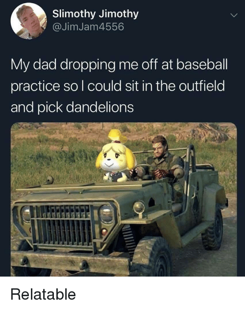 the outfield: Slimothy Jimothy  @JimJam4556  My dad dropping me off at baseball  practice so l could sit in the outfield  and pick dandelions Relatable