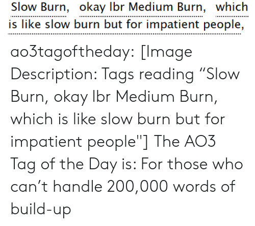 """Build Up: Slow Burn, okay Ibr Medium Burn, which  is like slow burn but for impatient people, ao3tagoftheday:  [Image Description: Tags reading """"Slow Burn, okay lbr Medium Burn, which is like slow burn but for impatient people""""]  The AO3 Tag of the Day is: For those who can't handle 200,000 words of build-up"""
