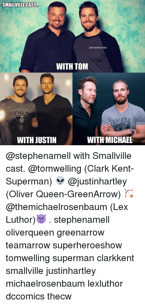 Lex Luthor: SMALLVILLE CAST  arrowmemes  WITH TOM  POINT  WITH JUSTIN  WITH MICHAEL @stephenamell with Smallville cast. @tomwelling (Clark Kent-Superman) 👽 @justinhartley (Oliver Queen-GreenArrow) 🏹 @themichaelrosenbaum (Lex Luthor)👿 . stephenamell oliverqueen greenarrow teamarrow superheroeshow tomwelling superman clarkkent smallville justinhartley michaelrosenbaum lexluthor dccomics thecw