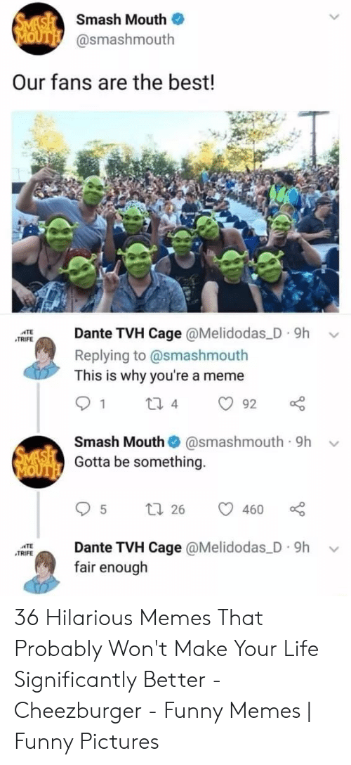 funny pictures: SMASH Smash Mouth  MOUTH @smashmouth  Our fans are the best!  Dante TVH Cage @Melidodas D 9h  ATE  TRIFE  Replying to @smashmouth  This is why you're a meme  1  2i 4  92  Smash Mouth  @smashmouth 9h  SMASH Gotta be something.  MOUTH  t 26  460  Dante TVH Cage @Melidodas D 9h  fair enough  TE  TRIFE 36 Hilarious Memes That Probably Won't Make Your Life Significantly Better - Cheezburger - Funny Memes | Funny Pictures