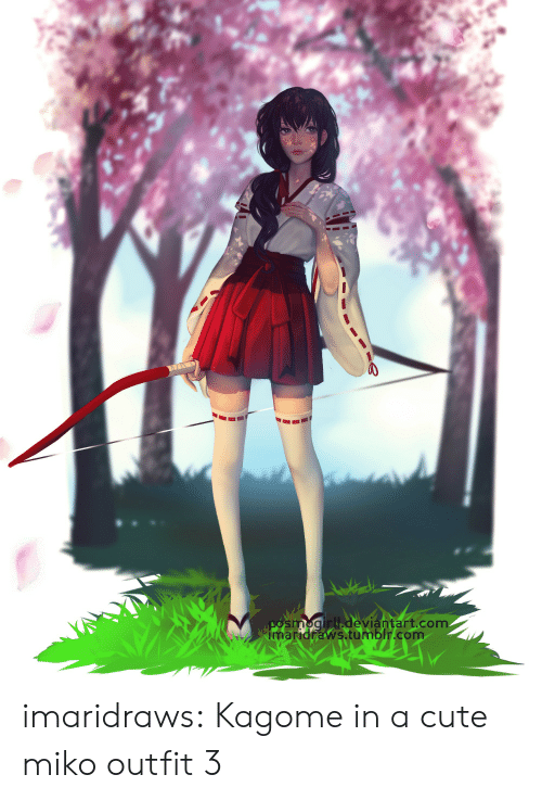 Cute, Target, and Tumblr: smogirll deviántart.com  imaridraws.tumblr.com imaridraws:  Kagome in a cute miko outfit 3