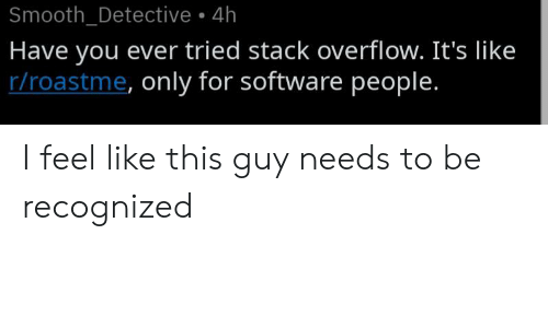 Its Like: Smooth_Detective 4h  Have you ever tried stack overflow. It's like  r/roastme, only for software people. I feel like this guy needs to be recognized