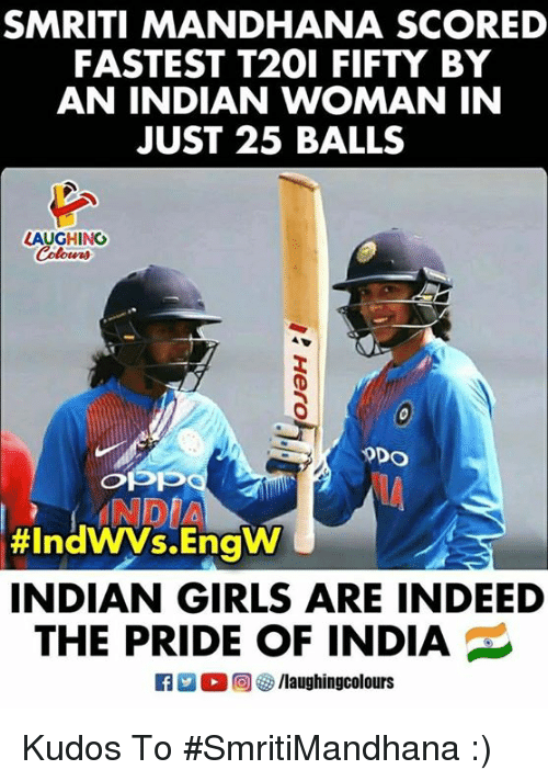 Girls, Indeed, and India: SMRITI MANDHANA SCORED  FASTEST T201 FIFTY BY  AN INDIAN WOMAN IN  JUST 25 BALLS  LAUGHING  INDIA  #IndWVs.Engw  INDIAN GIRLS ARE INDEED  THE PRIDE OF INDIA  R 2 % 回 /laughingcolours Kudos To #SmritiMandhana :)